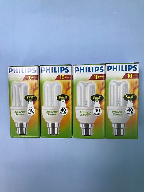 4 PHILLIPS 8 Watt (40 Watt) Energy Saver Bulbs