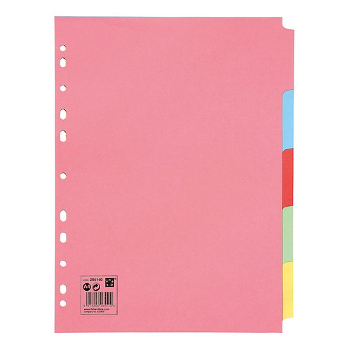 5 Star Subject Dividers Multipunched Manilla Board 5-Part A4