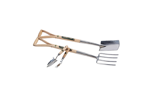 Stainless Steel Border Fork & Spade Set & Hand Trowel With Weeder Set (4 Piece)