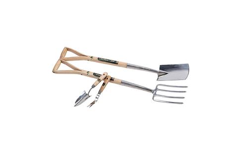 Stainless Steel Border Fork & Spade Set & Hand Trowel With Weeder Set (4 Piece)