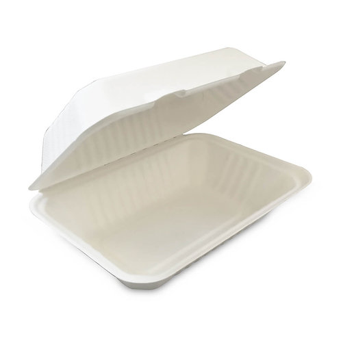 "Bagasse medium hinged box 7.5X5.5X3"""" - sugar cane compostable"