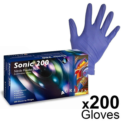 200 x AURELIA Sonic BLUE Nitrile P/F Examination Gloves