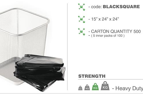 15 x 24 x 24 Black Square bin liners 22.5 micron
