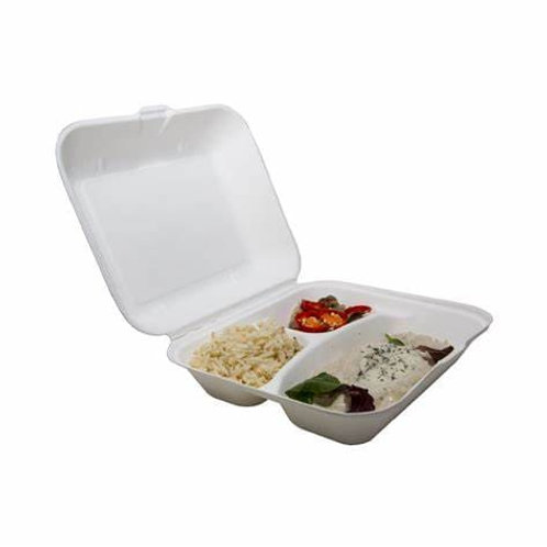 "Bagasse 8"" 3 compartment meal box"