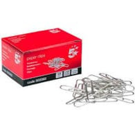 5 Star (33mm) Paperclips Metal Large Plain