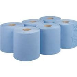2ply BLUE Std Centre Feed Embossed  6 Rolls x 120mtr