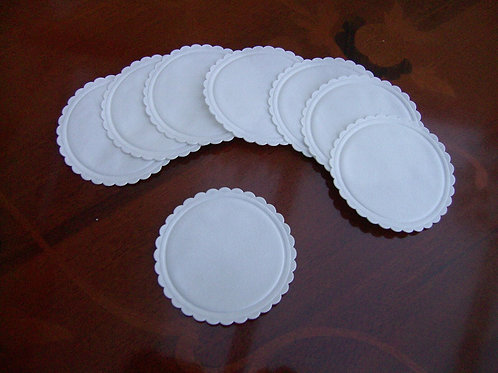 80mm 8ply Unbacked White Coasters