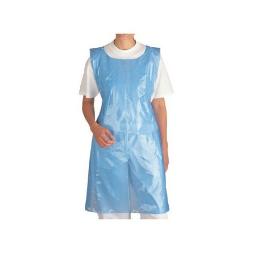 Blue Plastic Disposable Poly Apron 69cmX107cm - Pk 100