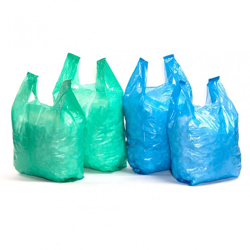 RECYCLED COLOURED VEST CARRIER BAGS