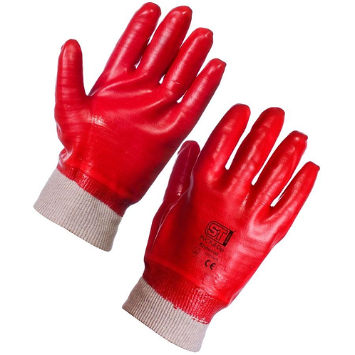 PVC Red Knit Wrist Gloves Size 10