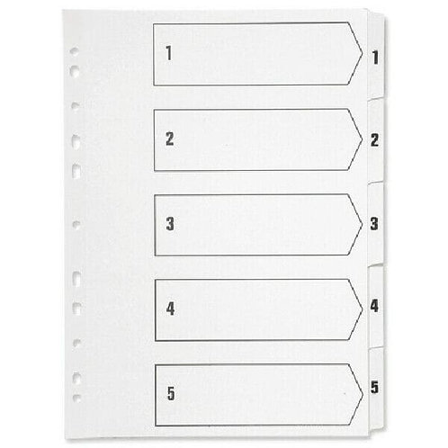Q-Connect Index A4 Multi-Punched 1-5 Polypropylene White
