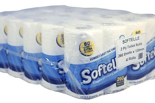 40 toilet rolls of White Softelle Luxury Toilet Rolls