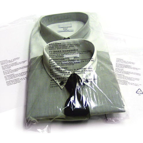GARMENT BAGS-CLEAR POLYPROP - RESEALABLE SELF SEAL STRIP
