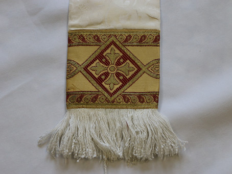 Tapestry tethering history from old vestments and church hangings