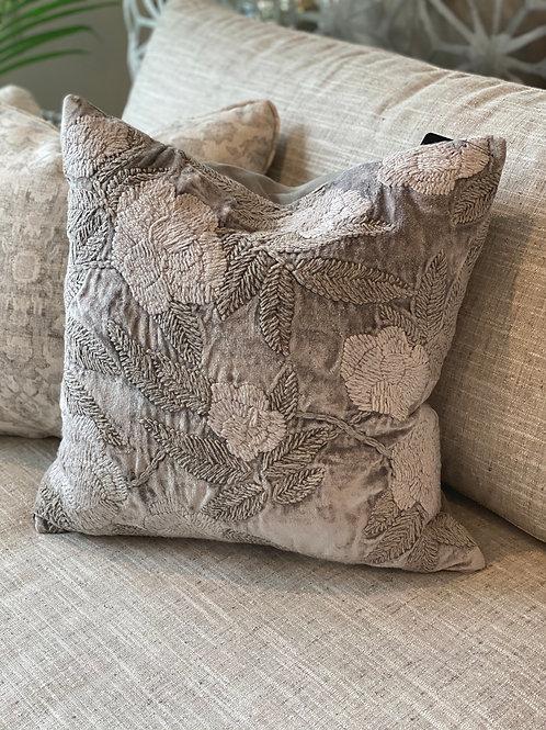 """20"""" Gray Velvet Pillow w Down Insert and Hidden Zipper"""
