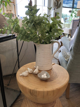 Farmhouse milk pitcher with leafy branch