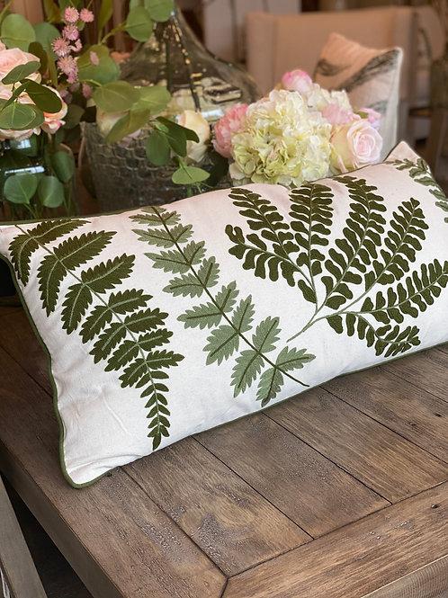 Embroidered Ferns Long Accent Pillow - Polyfil, Hidden Zipper
