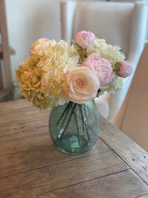 Glass Vase with Hydrangea, Roses and Peonies