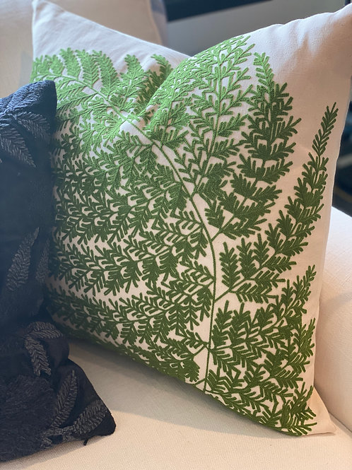 """21""""Embroidered Fern on Linen Pillow"""