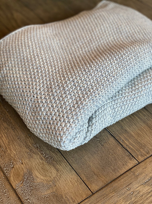 Crocheted Cotton Heathered Gray Throw