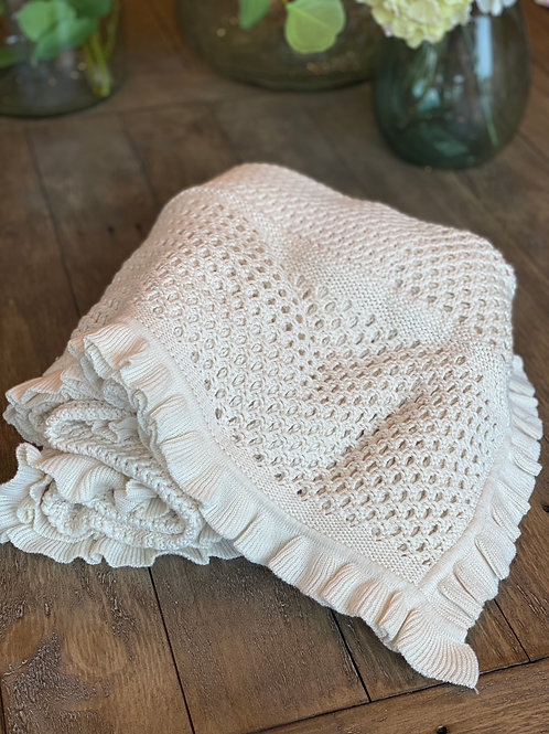 Ruffle Edge Cotton throw