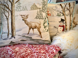 Snowman and Deer Holiday Pillow Home Acc