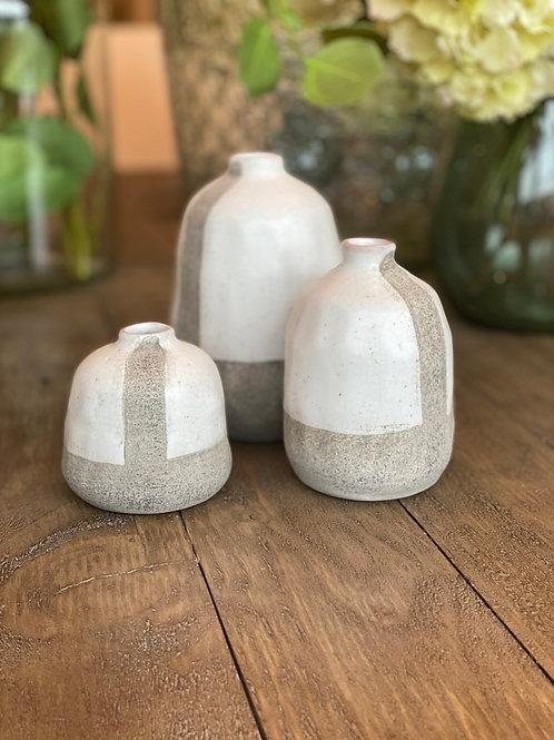 Set of 3 Small Glazed Stoneware Vases