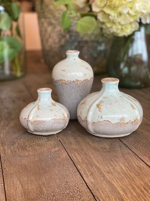 Set of 3 Small Glazed Stoneware Vessels