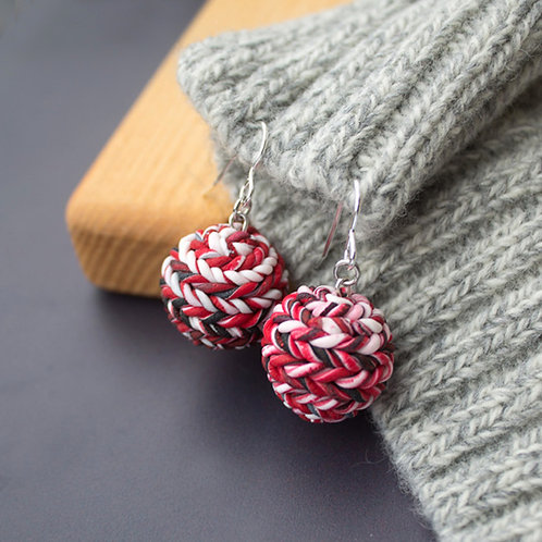 Red Texture Earrings