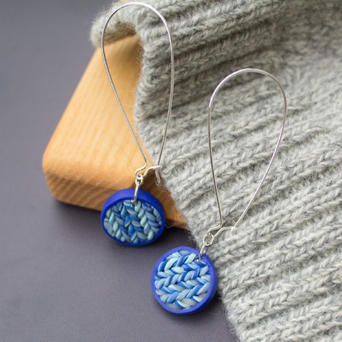 Contemporary Blue Texture Earrings