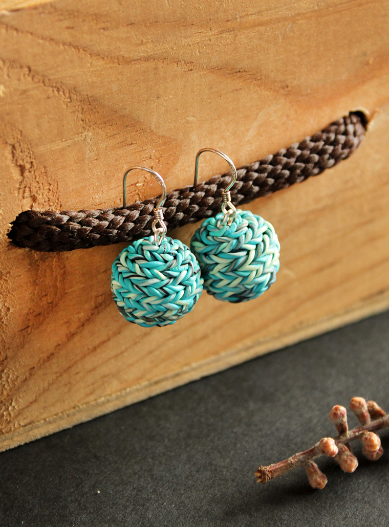 Blue Knit Inspired Earrings
