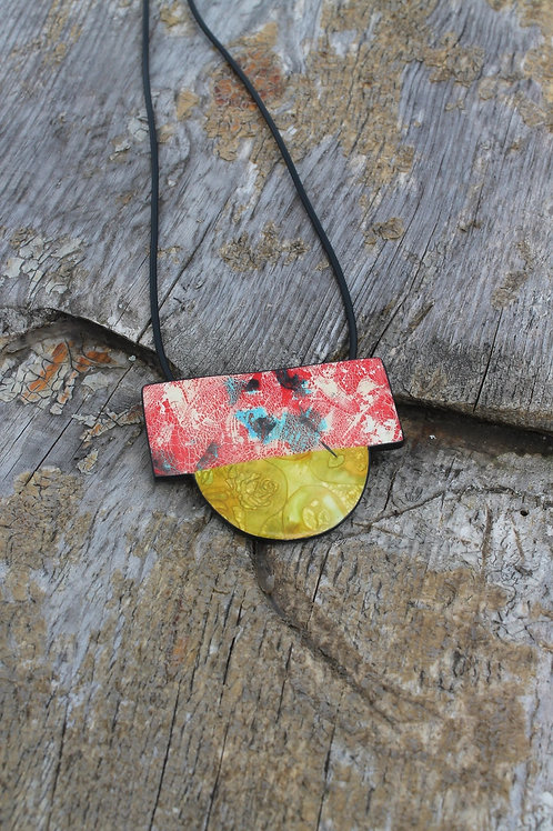 Fire Earth Element Abstract Design Necklace