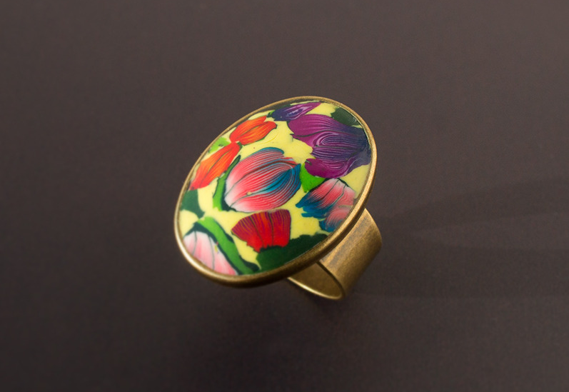 Tulip Garden. Adjustable Size Ring