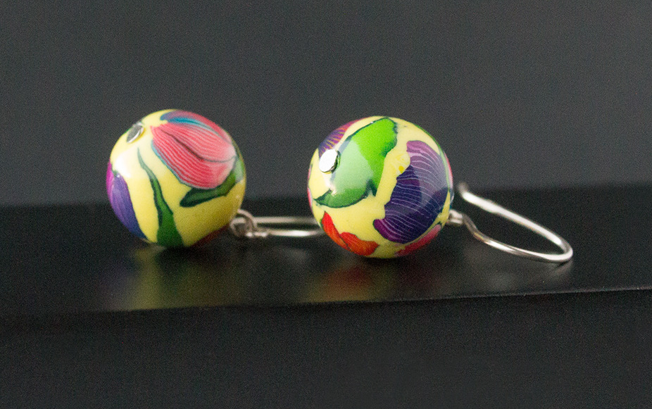 Tulip Garden. Ball Earrings