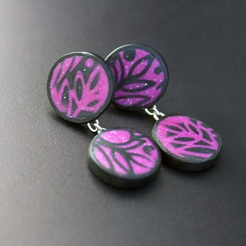 Magneta Pink Nature Inspired Stud Earrings