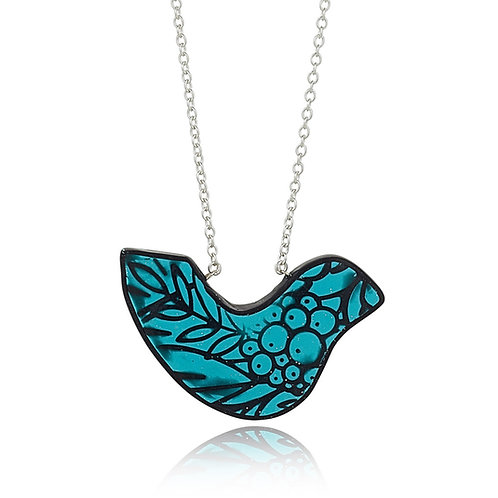 Teal Blue Bird Pendant Necklace