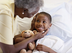 Grandma's Healing Touch gives a young child happiness