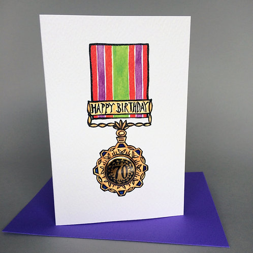 70 HAPPY BIRTHDAY MEDAL