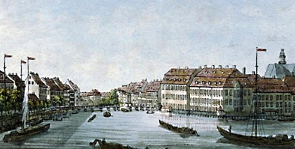 Blick von der Waisenbrücke auf die Inselbrücke, 1778