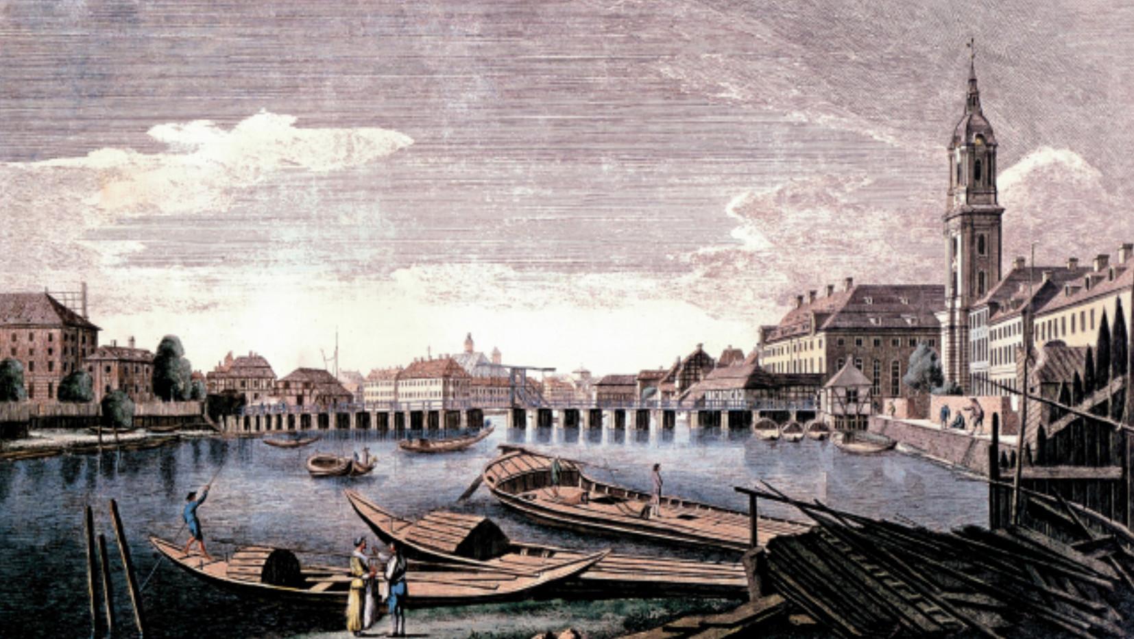 Ansicht des Waisenhauses mit der Waisenbrücke um 1780