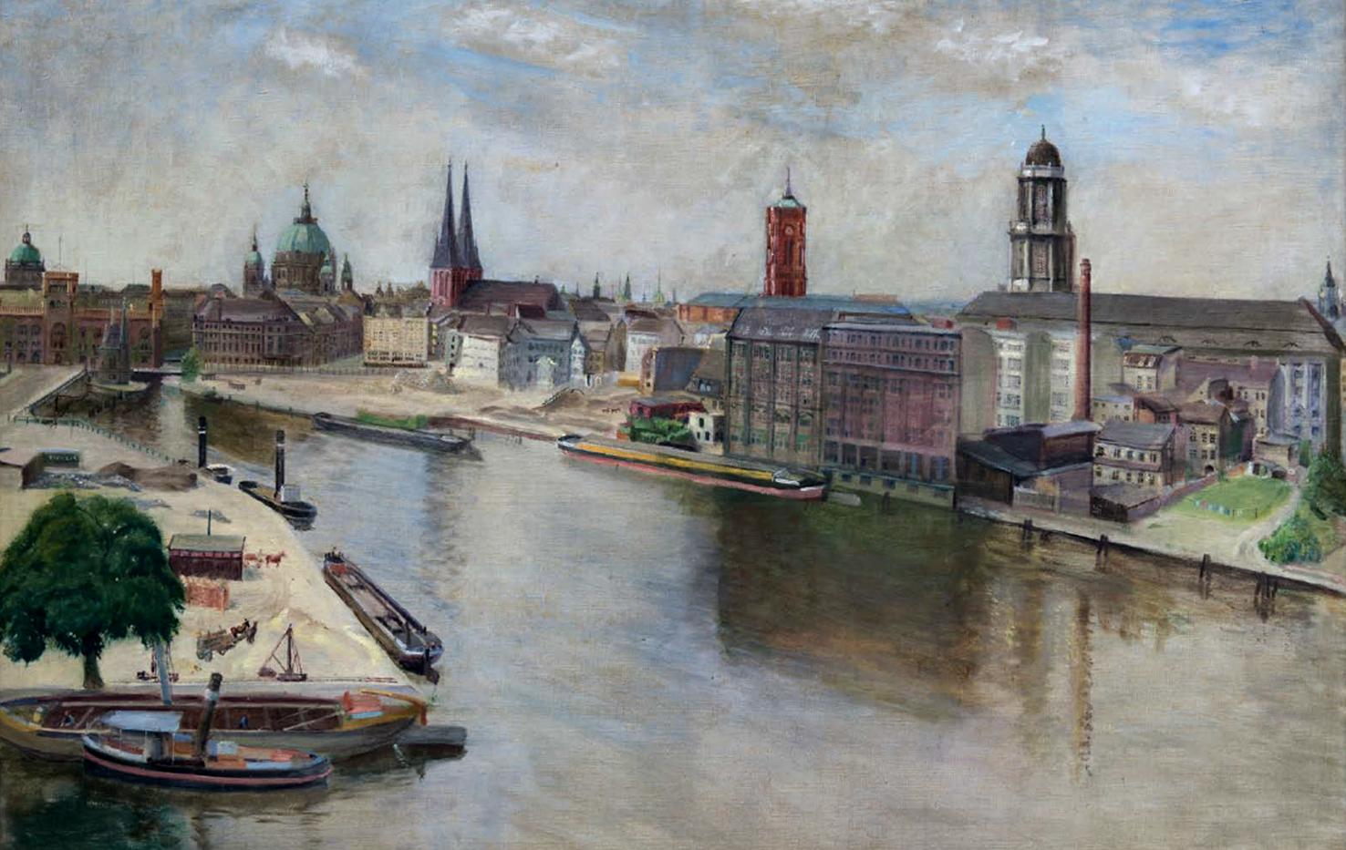Heinrich Wislicenus (1935), Blick auf den Bau der Mühlendammschleuse