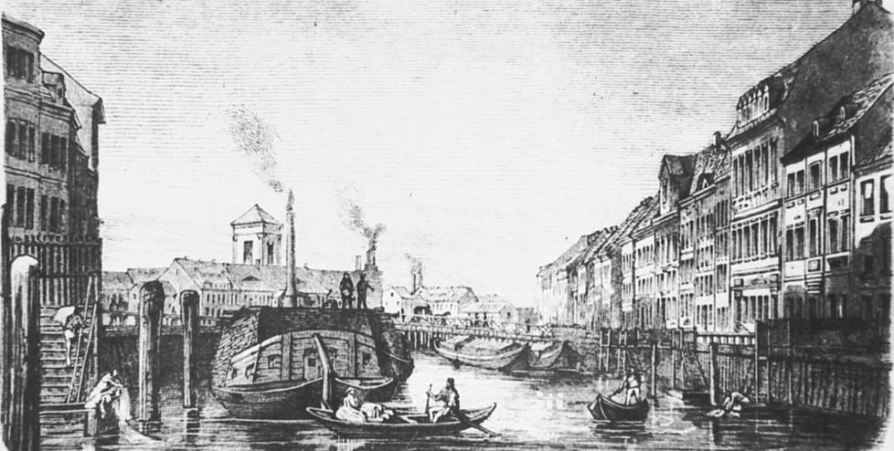 Berlin-Mitte, Märkisches Ufer mit der alten Inselbrücke, Stich, um 1882