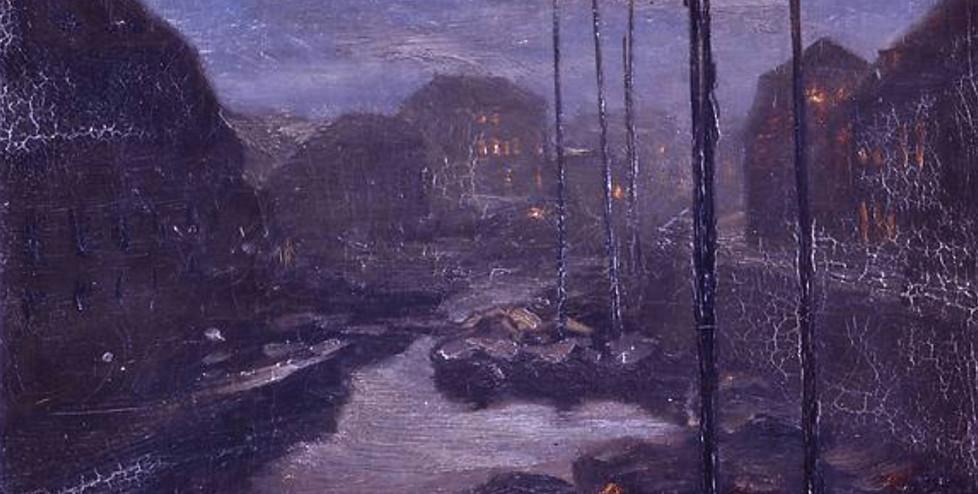 """Adolph Menzel. """"Mondschein über der Friedrichsgracht im alten Berlin"""", um 1855"""