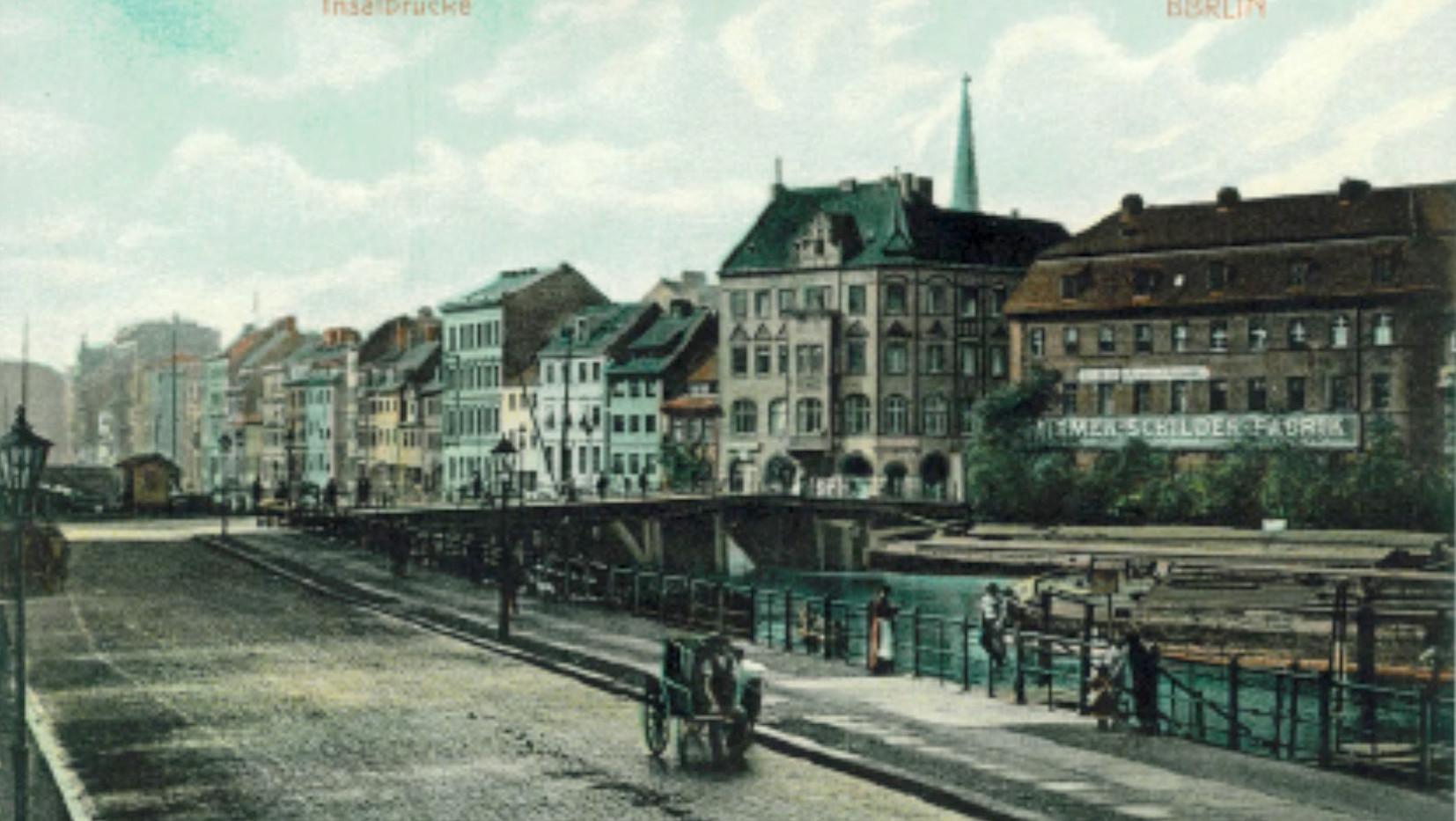 N.N. (ca 1890), Blick auf Inselbrücke und Friedrichsgracht