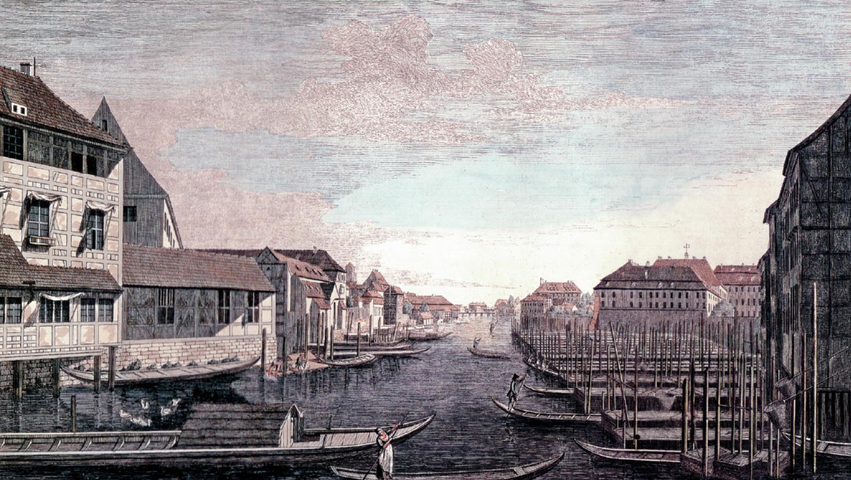 Blick von der Fischerbrücke zur Waisenbrücke, 1785