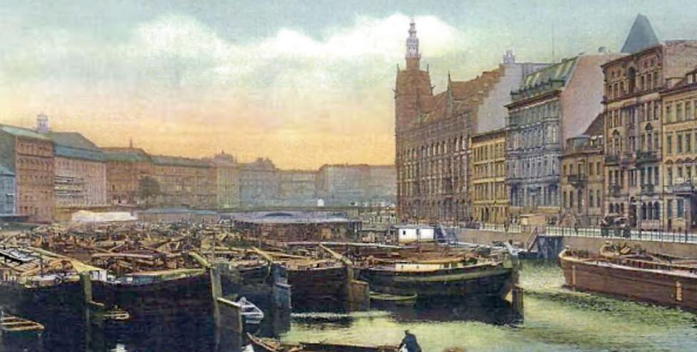 Blick auf Waisenbrücke, dahinter Jannowitzbrücke, 1905