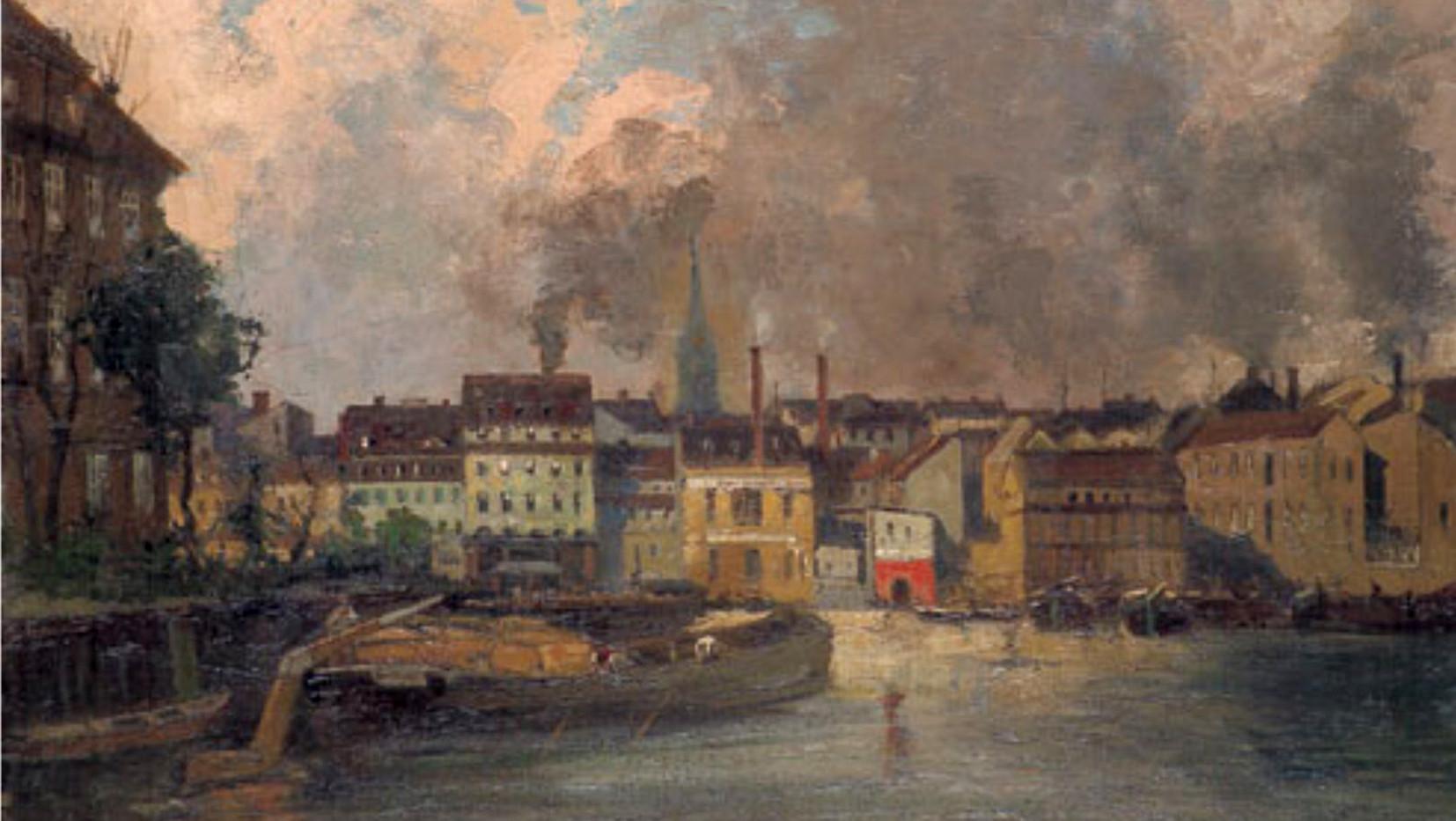 Julius Jacob d. J. (1842-1929), Blick von Inselbrücke auf Stralauer Straße