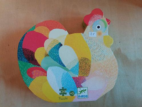 . Puzzle poule multicolore