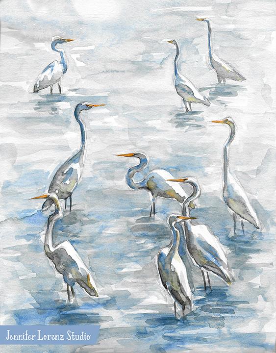 Egrets in Summer