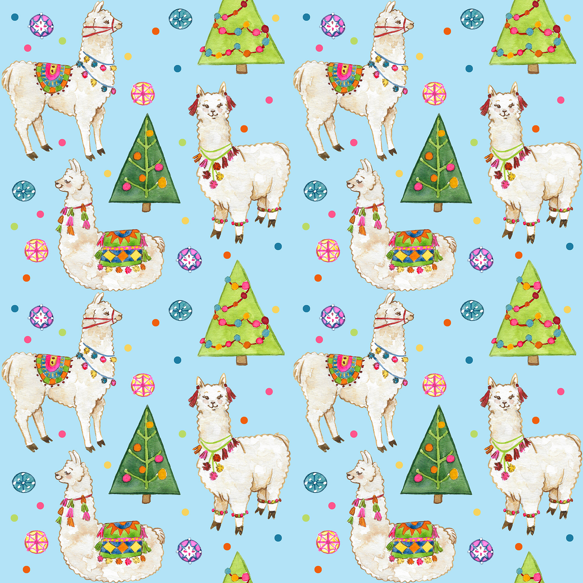 Christmas Llama Pattern